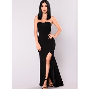 Strapless Slit Maxi Dress